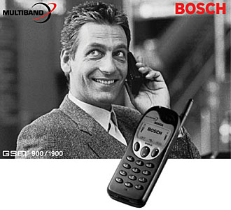 mobilecollectors.net - Original advertisment photo of Bosch WorldCom 718. One of the first 900/1900 MHz (EU+US GSM band) phones.