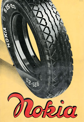 mobilecollectors.net - Nokia's tyre ad from 1936. Nokia starts with its business in rubber industry.
